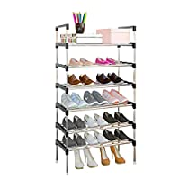 AcornFort® S-504 6 Tiers Adjustable Shoe Storage Shoe Rack Organiser Shelf Hold Stand for 18 Pairs Shoe, 2019 New Upgrade Sturdy Design, Space Saving, Easy Assemble
