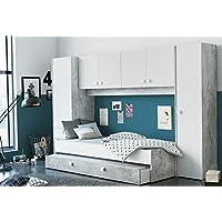 Miroytengo Pack Dormitorio Juvenil Estilo Industrial Compuesto por Cama con cajonera somier y colchon no Incluido y Amplio Armario Puente - Muebles de Dormitorio precios