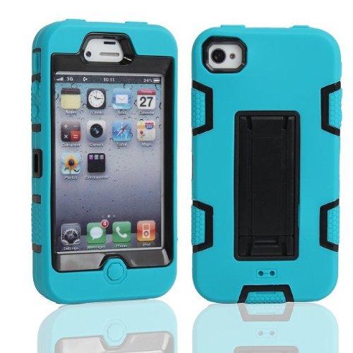 iPhone 4 Case,iPhone 4S Case, Lantier Protection puissante [3 en1 Color Mix Design], Case dur hybride souple Durable Bumper Case Armure Case Retour couverture avec béquille pour Apple iPhone 4 4S noir Blue-Black