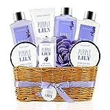 Cesto regalo Spa da bagno per donna - Body & Earth 9 pezzi Set bagno e corpo con profumo di giglio viola, Set regalo perfetto per le donne