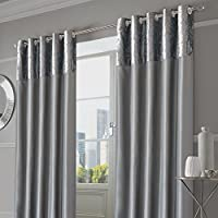 """Sienna Pair of Crushed Velvet Band Curtains Fully Lined Eyelet Ring Top Faux Silk Window Treatment Panels-Manhattan Silver Grey, 66"""" Wide x 72"""" Drop"""