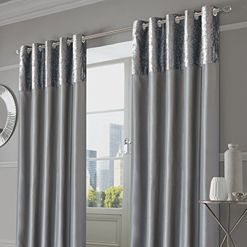 e6ac576a7ade2 Sienna Pair of Crushed Velvet Band Curtains Fully Lined Eyelet Ring Top  Faux Silk Window Treatment
