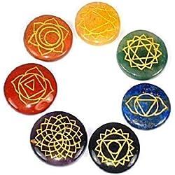 Reiki - piedras de Chakra, juego de 7,con símbolos grabados y funda -