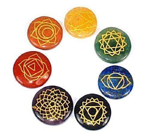 Reiki pierres chakra, Chakra Lot de 7 pierres chakra avec gravé symboles Pochette inclus. livraison gratuite
