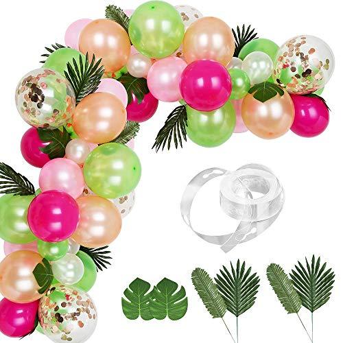83 Stück Luftballons Girlande Kit DIY Hawaii Ballon Bogen Girlande mit Palmblättern und Ballon-Streifen für Luau Sommer Beach Party Tropisches Thema Flamingo Geburtstagsfeier Babyparty