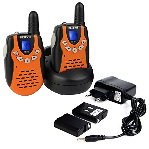 Retevis RT-602 Walkie Talkie für Kinder 8 Kanäle mit LC-Display Akku aufladbar (2er Set, Orange)