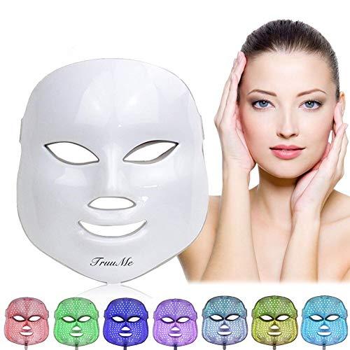 Lichttherapie Maske, LED Gesichtsmaske,7 Farben LED Maske,Akne Lichttherapie Maske, Phototherapiemaske zur Behandlung von Akne, Flecken, Mitesser, Hautunreinheiten -