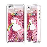 Head Case Designs Einhorn Regenbogenkotze Rosa Handyhülle mit flussigem Glitter für Apple iPhone 5 / 5s
