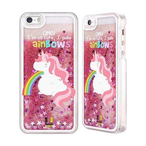 iPhone 5 / 5s Einhorn Regenbogenkotze Rosa Handyhülle mit flussigem Glitter für Apple