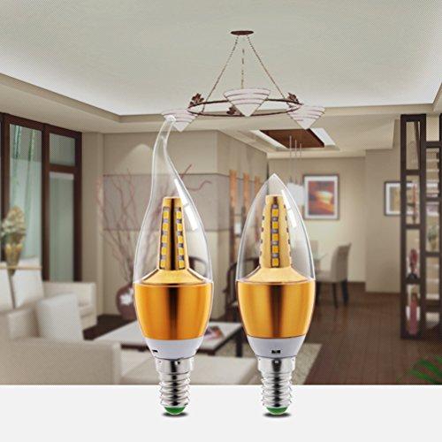 Ralbay 6PCS E14 LED Candle Bulb Golden Aluminum 5w LED Light 220V Led Lamp Lampada Bombillas Lumiere 25 2835-SMD LED Chipest Crystal lamp