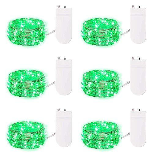 6-Pack-Grün-Fee-Schnur-Licht Batteriebetriebene Schnur beleuchtet Firefly Lichter 20 Micro LED Sterne Schnur-Lichter auf 6.7ft / 2m Silvery Kupferdraht für DIY-Weihnachtsdekor-Kostüm Hochzeit Dekor (Led Licht Kostüm Diy)