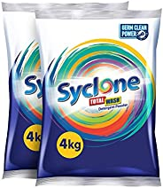 Syclone Total Wash Detergent Powder With Germ Clean Power - 4Kg + 4Kg (Twin Pack)