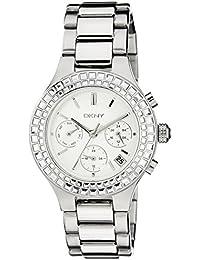 DKNY NY2258I - Reloj para mujeres, correa de acero inoxidable color plateado