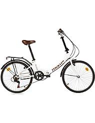 "Moma Bikes Plegable Ruedas 24"" Shimano. Aluminio Bicicleta, Unisex Adulto, Blanco, No"