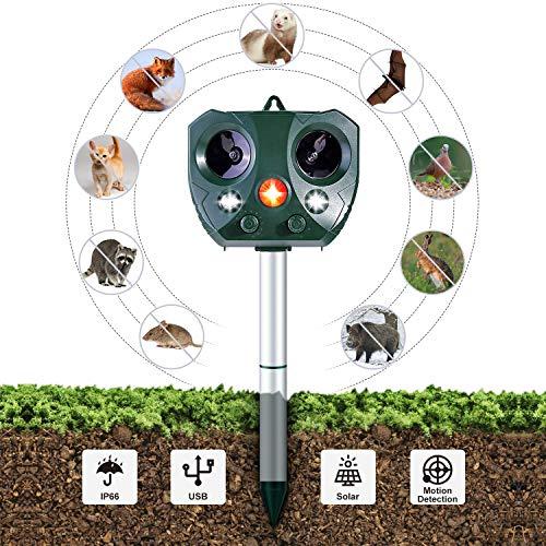 Ohuhu Katzenschreck Ultraschall Solar, wasserdichte Utraschall Abwehr mit Batteriebetrieben und Blitz 5 Modus Einstellbar Tiervertreiber Ultraschall für Katzen, Hunde, Schädlinge, Rotwild