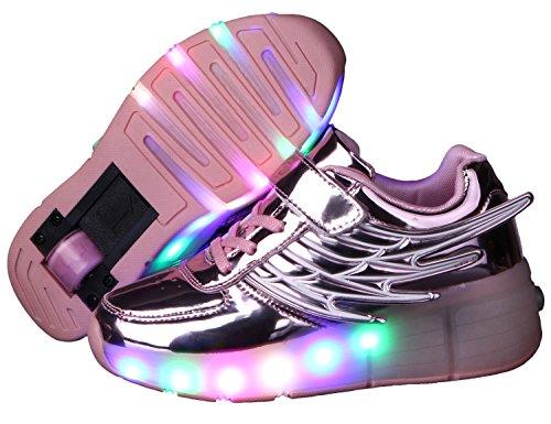 Jungen und Mädchen Turnschuhe Wanderschuhe Rollschuh Schuhe Skateboard mit LED-Leuchten blinken skateboarding Schuhe neutral Rad Rollschuhe mit Rädern (Herren Skate-schuhe Turnschuhe Skateboard)
