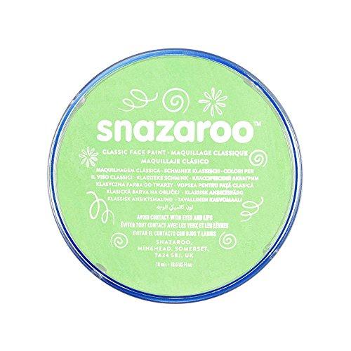 Snazaroo 1118400 Kinderschminke, hautfreundliche hypoallergene Gesichtschminke auf Wasserbasis, wasservermalbar, parabenfrei, blassgrün, 18 ml Topf