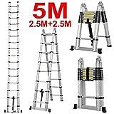Doppel-Leiter, vielseitig zusammenklappbar, ausziehbar, tragbar, Mehrzweck-Leiter für alle Bedürfnisse, 5,0m