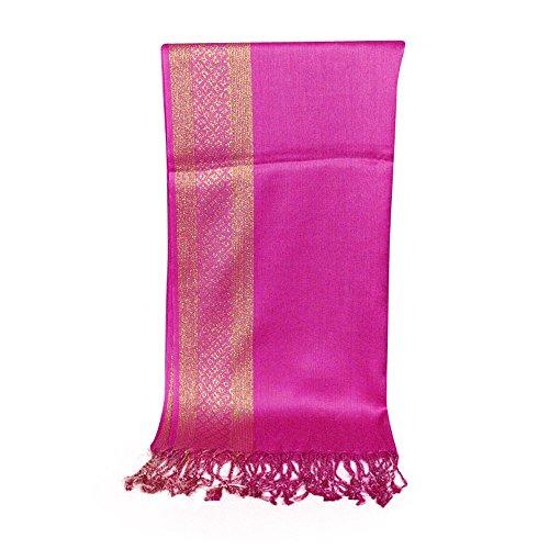 FEITONG Damen Long Shawl Schal Tassel Schals Stola Wrap Heißes Rosa