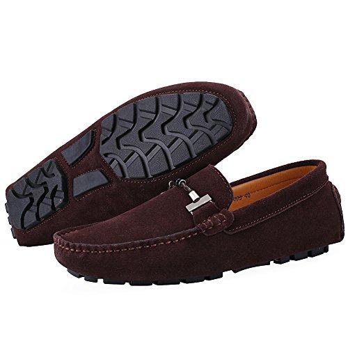 Zapatos De Conducción De La Hebilla De Los Hombres Con Estilo De Jamron Café De Alta Calidad Del Mocasín De La Gamuza