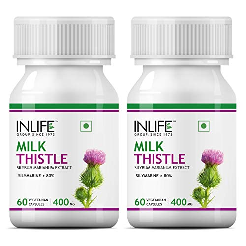 Inlife Milk Thistle 80% Silymarin Liver Cleanse Detox Supplement 400 Mg - 60 Veg Capsules (2-Pack)