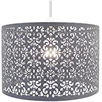 (LARGE METAL SHADE DARK GREY) - Chandelier Chic Ceiling Light Pendant Shade Crystal Droplet Fitting Easy Fit (Large Metal Shade Dark Grey)