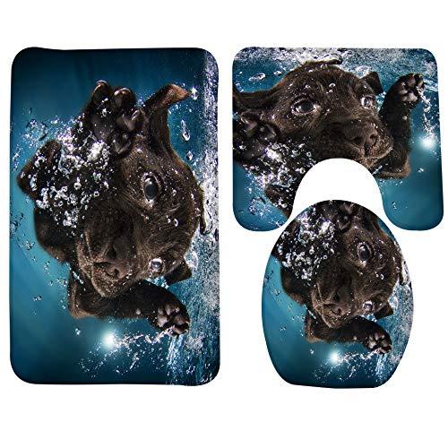 GMYANMTD 3 Stücke Duschmatte Set Tier Schwarz Labrador Retriever Muster Badezimmer Produkte Anti Slip Toilettenset Mikrofaser Badematte (Labrador-retriever-badezimmer Sets)