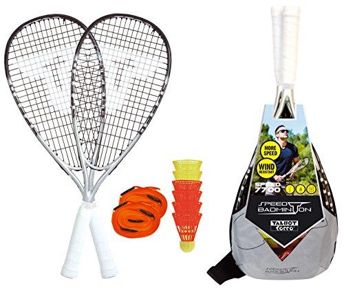 Talbot-Torro Speed-Badminton Premium-Set Speed 7700, hochwertiges Komplettset, 2 kraftvolle Graphit-Composite Rackets 58,5cm, 6 windstabile Federbälle, komplettes Court-Liniensystem zur Spielfeldmarkierung, im trendigen Rucksack, silbergrau-schwarz, 490117