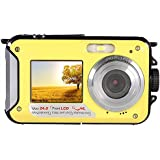 Digitalkamera Wasserdicht Gelb, 3M Unterwasser Kamera Shockproof Digital Kompakt digitale Videokamera Full HD 1080p, 24 Megapixel, 2,7 Zoll, Dual LCD Dual-Display, 16 Zoom Summen Kamerarecorder