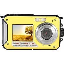 Bajo el agua a prueba de golpes 24 Megapíxeles cámara digital Impermeable Videocámara w / pantalla LCD de dos colores, 2.7inch TFT digital resistente al agua de doble pantalla Full HD 1080P 16x dispositivo de vídeo digital zoom de la cámara DVR DV, Amarillo