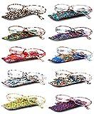 VEVESMUNDO Gafas de Lectura Mujer Hombre Portatiles Flores Leer Graduadas Vista Presbicia con Bolsillo 1.0 1.25 1.5 1.75 2.0 2.25 2.5 2.75 3.0 3.5 4.0 (3.0, 10 Gafas Set)