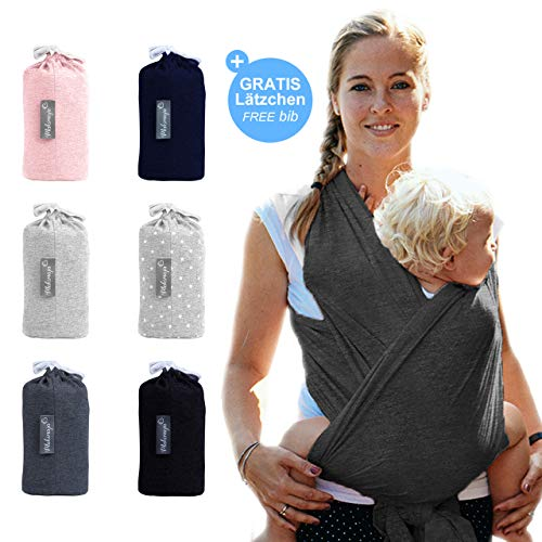 Babytragetuch Dunkelgrau - hochwertiges Baby-Tragetuch für Neugeborene und Babys bis 15 kg - aus 100 % Baumwolle
