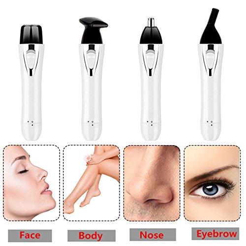Epilatore viso per donna, 4 in 1 set pulizia viso naso sopracciglia corpo rasoio elettrico per donna uomo, depilatore multifunzionale con usb ricarca