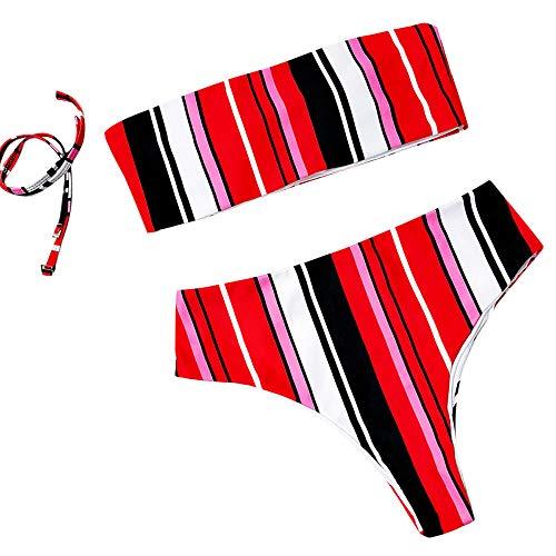 Gestreifte Röhre Top Split Badeanzug Frauen BH verdicken Bikini-Set Hohe Taille Sommer Strandbadebekleidung URIBAKY -