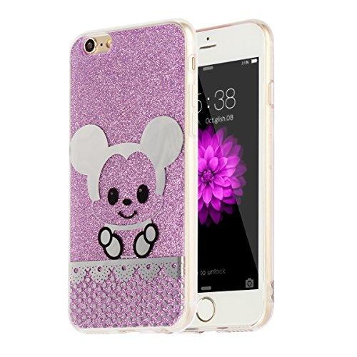 "MOONCASE iPhone 6s Hülle,Bling Glitzer Soft Schutzhülle TPU Silikon Anti-Rutsch Handyhülle Muster Schutz Cover für iPhone 6 / iPhone 6s (4.7"") (Eule - Golden) Maus - Lila"