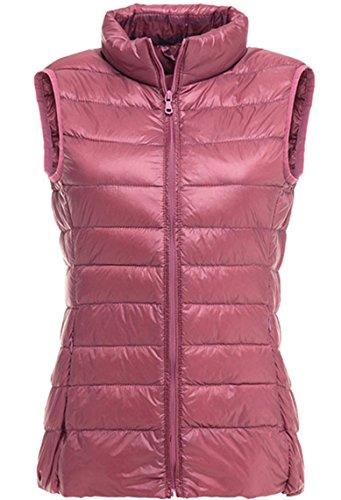 Lovache Damen Weste Down Sweater Steppweste Leicht und Wärmend Stehkragen Reißverschluss Winterjacke, M, rosa Rosa Down-weste
