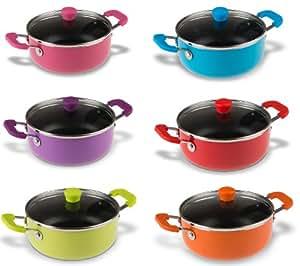 Oramics - 6 superbe petite casseroles de 14 centimètres de diamètre - En 6 couleurs différentes - Livraison. 1 casserole