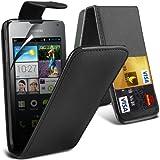( Black ) Huawei Ascend Y300 Premium Faux Kredit / Debit-Karten-Slot Leder Flip Case Hülle & LCD-Display Schutzfolie by Fone-Case