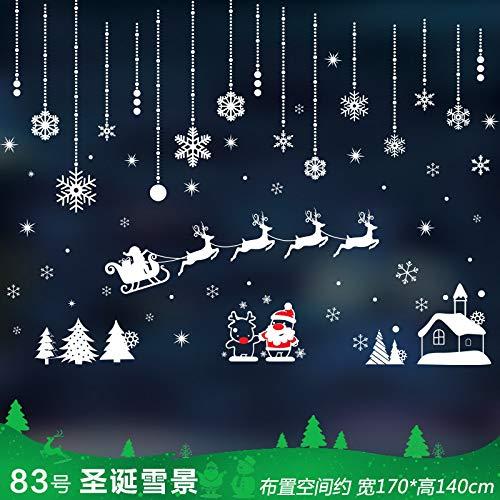 VHVCX Weihnachtskranz Dekorationen Und Dekorationsartikel_Weihnachtsdekoration Schaufensteraufkleber Glaswand, 82 Weihnachtsbox