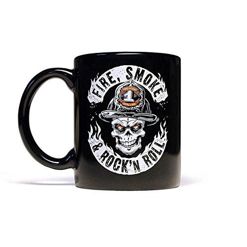 FIRE, SMOKE & ROCK´n ROLL Firefighter Kaffeebecher 300 ml/schwarz
