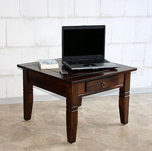 Casa Massivholz Couchtisch Beistelltisch kolonial Sofatisch Tisch 65x65cm Schublade