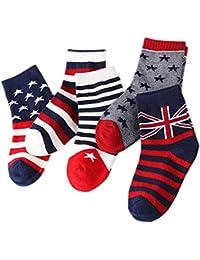5 Par Calcetines de Canalé para Niños Algodón Invierno Calcetines Calientes con Print Rayas, para Niños Niñas 3-5