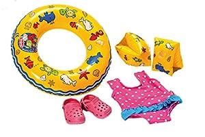 Heless 88 - Schwimmset für Puppen, Badeanzug, Clogs, Schwimmring und -flügel, Größe 35 x 45 cm