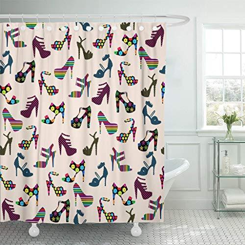 Tenda per Doccia Scarpe col Tacco fresche Colorate Modello da Donna con Tacchi Alti Tessuto in Poliestere Impermeabile con Ganci