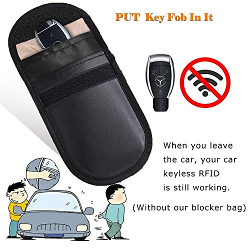 2 X Car Key Signal Blocker Case, Faraday Pouch for Car Keys Keyless Entry Fob Guard Signal Blocking Pouch Bag, keyless car key signal blocker pouch, Cell Phone Protection Security WIFI / NFC Blocker