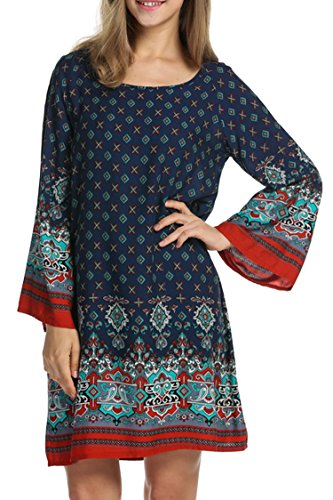 hotouch-women-bohemian-ethnic-printed-mini-beach-floral-tunic-dressnavy-bluem