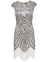 Babeyond Mujeres Flapper Vestidos de los años 20 con cuentas Fringed Great Gatsby Dress