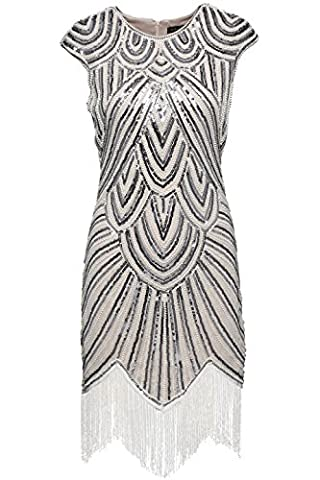 Flappers Costumes - Babeyond Femmes Robes Flapper Robe frangée perlée