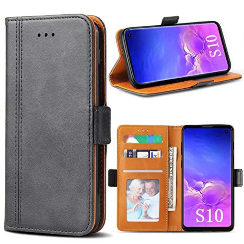 Bozon Galaxy S10 Hülle, Leder Tasche Handyhülle für Samsung Galaxy S10 Schutzhülle Flip Wallet mit Ständer und Kartenfächer/Magnetverschluss (Dunkel Grau) - Dunkel Grau Leder
