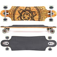 MAXOfit® Deluxe Longboard GeoLines Bamboo No.96, Drop Through, 96,5 cm, 4 stratti, ABEC11 - Azione Longboard Skateboard